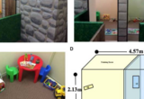 Pictures of the conditioned place preference (CPP) arena. (A) The newly constructed child-friendly, three room, custom-designed arena was designed as a castle to encourage children to explore the arena. (B) When standing in the neutral room, the child has to decide which of the two rooms they want to enter first. (C) Overhead view of one room in the castle arena. (D) Blueprint design of the physical dimensions of the custom-designed arena. [d] = door.